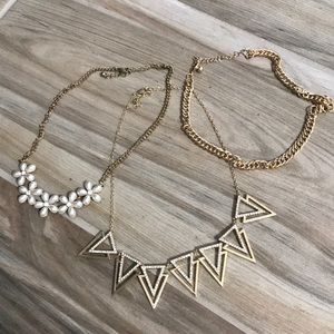 Gold Statement Necklaces Flower / Diamond Chain